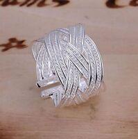 Ring Big Web 925 Silber plattiert Damenring Fingerring Größe einstellbar R02