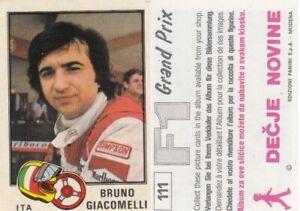 sticker Bruno Giacomelli McLaren FORMULA 1 F1 Grand prix Panini Yugoslavia