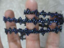 Sewing trim Vintage dark blue cut beads seed beads dress trim craft 28 inch