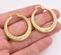 "1.5"" 38mm Graduated Diamond Cut Hoop Earrings 14K Yellow Gold Clad Silver 925"