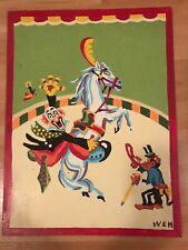 Hand Painted Circus Clown On Horse With Monkey Vintage Great For Clown Lovers