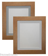 Metro Oak Picture Photo Frames with Light or Dark Grey Mounts Quality MDF Wood
