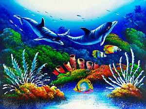 Dolphins and Coral Seascape A1+ High Quality Canvas Print