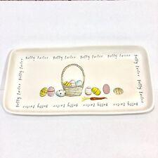 NEW Rae Dunn Magenta Happy Easter Large Platter Tray Plate Basket Eggs Carrots