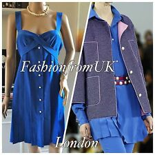 CHANEL RUNWAY ROYAL BLUE PEARL BUTTONS SILK DRESS 38/40