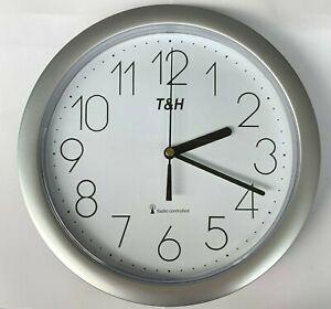 Wanduhr Funkuhr Bürouhr Küchenuhr Quarz Analog Uhr Quarz 25cm in grau
