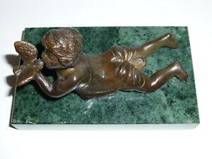 Vintage Bronze Boy Cherub with Bird Sculpture Green Marble Base Signed