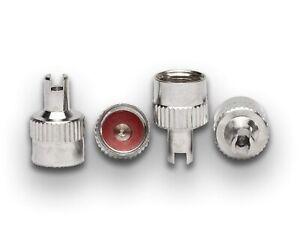 4er Set Metall-Ventilkappen mit Schlüssel Ventilkappenausdreher
