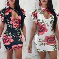 Women ruffled sleeves floral print bodycon club party cocktail mini summer dress