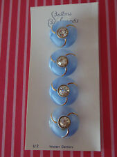 4 Vintage Blue Moonglow  Rhinestone Schwanda Buttons Scrapbook  Handbag Jewelry