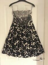 NEW LOOK Black White Floral Strapless Party Wedding Dress Size 10