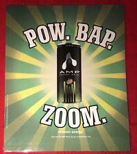 2002 AMP Energy Drink Shot Sealed Ad 10.75x8.75 Monster Rockstar POW Bap ZOOM