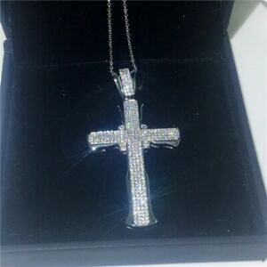 Luxury 14K Lab Diamond Cross Pendant Necklace 925 Sterling Silver Necklace