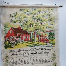 1980 Linen Fabric Wall Calendar Tea Towel Red House Tree Vintage Collectible EUC