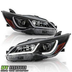 For 2015-2017 Toyota Camry Halogen Black LED Tube Projectoe Headlights Headlamps