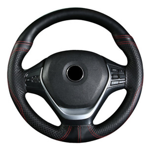38cm Car Steering Wheel Cover Non-slip Genuine Leather Black/Red Line Universal