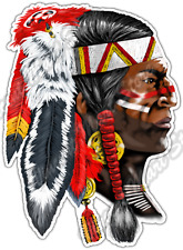 "Indian Chief Apache Native American Aztec Car Bumper Vinyl Sticker Decal 3.5""X5"""