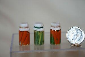 Miniature Dollhouse 3 Glass Canning Jars w Peas Carrots & String Beans 1:12 NR