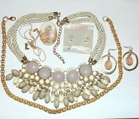 Vintage to Now costume jewelry lot of 6, Marvella earrings Avon necklace pin