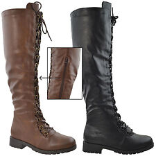 Womens Faux Leather Knee High Boots Combat Lace Up Shoes Brown