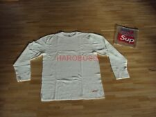 Original Supreme x Hanes Thermal Crew Shirt off white red Box Logo NAS Gr L NEU