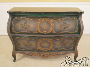 23906E: French Louis XIV Style Paint Decorated Granite Top Commode