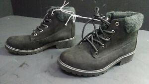 Bobbie Brooks Women's Faux-Suede Combat-Style Boots, Black, Lace-Up, Size 6