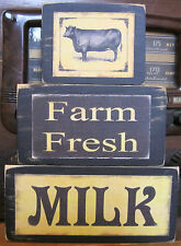 Farm Fresh Milk With Cow Primitive Rustic Stacking Blocks Wooden Sign Set