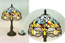 Beautiful Dragonfly Design, Clear Jewels effect Glass Tiffany Style Table Lamp