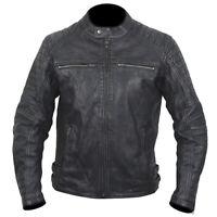 ARMR Moto Retoro Classic Retro Style Motorcycle Motorbike Leather Jacket - Black