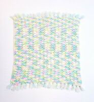 "Vintage Handmade Crocheted Fringed Baby Blanket 30""x30"" Multicolored Unisex"