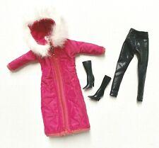 Barbie Clothes Lot Winter Puffer Coat Black Leggings Boots Set by Eledoll