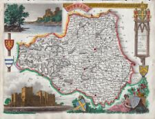 1842 Very Decorative Moule Map of Durham
