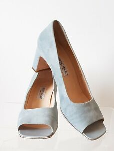 Bruno Magli Italy Size 6 Ice Blue Leather Suede Square Peep Toe Block Heel Shoes