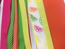 Grosgrain ribbon citrus mix 25 yards.Sizes 1-1/2 inch,7/8,5/8,3/8 inch
