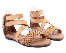 Fashion Side Buckle Faux Leather Gladiator Style Back Zipper Womens Sandals