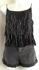 Trina Turk Black Silk Cami/Top-Rhinestone SZ L With Zipper