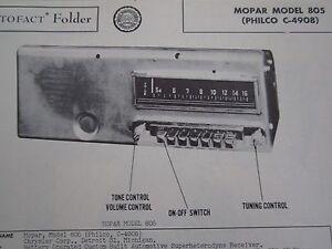1949,1950 CHRYSLER, DODGE, PLYMOUTH, DeSOTO MOPAR 805 RADIO PHOTOFACT