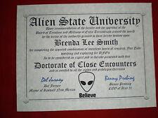 Alien ~ Aliens Diploma ~MAN cave ~ certificate ~ gift ~ UFO ~ Paranormal