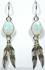 7x9mm White Fire Opal 925 Sterling Silver Feather Dangle Earrings - Made in USA