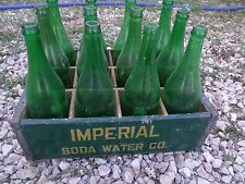 1945 Imperial Soda Water Co Wood Crate & 12 pcs soda plain green empty bottles