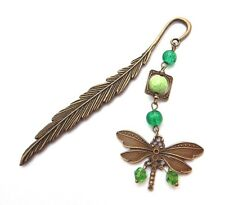 BRONZE FEATHER BOOKMARK w/ DRAGONFLY & Green Beads charms gift nature 2W