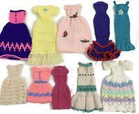 Vintage Barbie Doll Fashion Knitted Crochet Lot of 10 Handmade Dresses