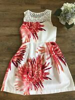 Studio One New York Cotton Floral Sun Dress Women Super Cute! Size 10 White Pink