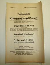 orig. Oberschlesier Hilfswerk Zeichnungsliste 1921 Oberschlesien in Not