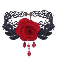 Halloween Gothic Black Lace Red Rose Choker Bib Necklace Women Lady Punk Jewelry