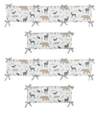 Grey White Deer Fox Outdoor Woodland Animal Baby Boy 4 Piece Crib Bumper Pad