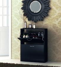 Shoe Storage Unit Cabinet Cupboard Stand Rack Black Hallway Drawer 2 Tier Narrow