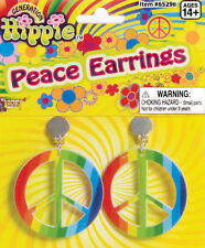 Regenbogen Hippie Peace Ohrringe NEU - Zubehör Accessoire Karneval Fasching
