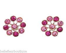 "Tarina Tarantino Crystal Flower Post Earrings 3/4"" Pink & Fuchsia *Made in USA*"